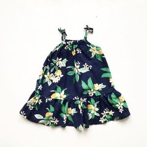 Old Navy blue floral linen tiered dress EUC 2T
